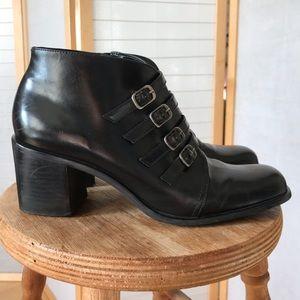 Sz 8.5 Bernardo buckle booties in black leather